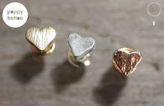 Lovely gift for sister. Stud Earrings – Gold, silver rose gold tiny heart earrings – a unique product by poppybutton via en.DaWanda.com