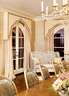Fadal Designs, Inc.'s Design Ideas, Pictures, Remodel, and Decor Window Pelmets, Curtains For Arched Windows, Arch Windows, Exterior Windows, Arched Window Treatments, Window Coverings, French Country Dining, French Country House, Dining Room Curtains