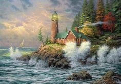 Download Wallpaper Wood, Painting, Art, House, Beacon, Storm, Sailing vessel HD Background