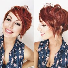 Red, Messy Curly Pixie Haircuts - Short Hairstyles with Side Bangs