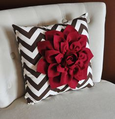 Cranberry Dahlia on Brown and Natural Zigzag Pillow by bedbuggs, $35.00