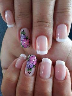Perfect Colorful Floral Nail Design – 16 It's your turn to have great nails! Check out this year's most … Flower Nail Designs, Colorful Nail Designs, Toe Nail Designs, Beautiful Nail Art, Gorgeous Nails, Moon Nails, Spring Nail Art, Elegant Nails, French Nails