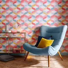 Graham & Brown offer the most striking geometric wallpaper on the market. Shop our wide-ranging collection of geometric wall coverings to suit any design. Spotted Wallpaper, Bright Wallpaper, Brown Wallpaper, Wallpaper Decor, Retro Wallpaper, Modern Wallpaper, Geometric Wallpaper, Home Wallpaper, Tartan Wallpaper