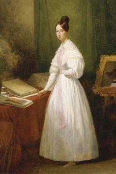 'Portrait de la princesse Marie d Orléans devant ses carnet de dessins', olio di Ary Scheffer (1795-1858, Netherlands)