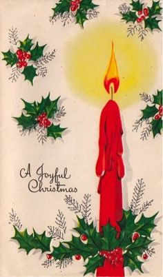 Vintage Greeting Card Christmas Candle Holly L295