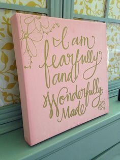 "New listing! READY TO SHIP:) ""Fearfully wonderfully made"" -girl by BeanstalkLoft on Etsy, $63.00"
