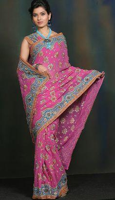 pink indian wedding saree