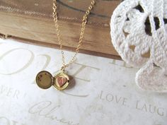 SECRET petite vintage locket necklace with single heart initial (brass) personalized gift. $24.00, via Etsy.