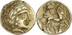 Celtic Gold Stater of the Aulerci Diablintes, Gaul, 1st Century BC/ADOn the obverse is Apollo wearing a laurel wreath. On the reverse is a chariot pulled by a man-headed horse (androcephalic). A vexillum (flag-like object) is suspended from a cord held by the charioteer. A seahorse is under the man-headed horse.The Aulerci Diablintes were an ancient people of Gaul, a division of the Aulerci. Julius Caesar mentions the Diablintes among the allies of the Veneti and other Armoric states whom…