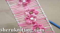 Floral Crochet Hairpin Lace Strip Tutorial 19 Crochet Flowers on Hairpin Loom ❤ https://www.youtube.com/watch?v=2RIndLs43hc&list=WL&index=2