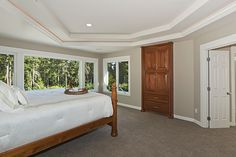 Choice Construction, Remodel, Custom Homes, Gig Harbor, Master Bedroom, Trey Ceiling, Crown Molding, Coffer Ceiling