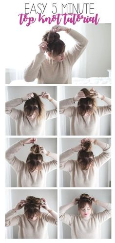 five minute top knot tutorials for moms on the go   easy top knot tutorial   top knot tutorial   quick hair tutorials   easy bun tutorial   messy bun tutorial