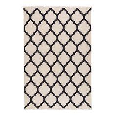 Mughal Jaal pattern - great as backsplash in kitchen.  Black and White Mughal Lattice Jali Patterned Dhurrie (rug)