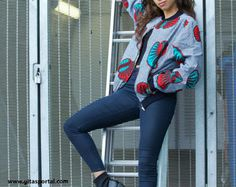 SOLD OUT Ankara bomber jacket  Forest by Gitas Portal