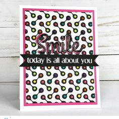 Does anyone remember Candy Dots? The little candies on paper? These Nuvo Drops on my Curtis Background Stamp totally remind me of them! Yummy!  #casfridays #tonicstudios #tonicstudiosusa #nuvodrops #stamping #cardmaking
