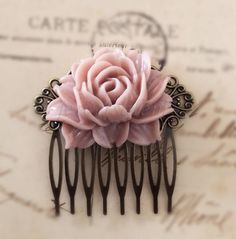 Pink Flower Hair Comb Wedding Pastel Pink Blush Large Rose Hair Pin Misty Mauve Dreamy Bridal Floral Hair Accessories Bridesmaid Gift