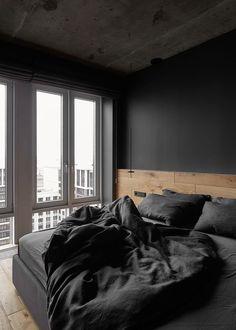 Black Bedroom Design, Black Interior Design, Home Room Design, Bedroom Black, Loft Design, Black Bedding, Design Kitchen, Design Bathroom, Design Design
