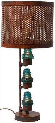 Upcycled Table Lamp Vintage Glass Telegraph Insulator Lights Clear/Blue Metal