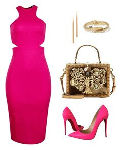 """""""Inighi Dual Open-Side Dress"""" by eme-bassey on Polyvore featuring Christian Louboutin, Dolce&Gabbana, Jules Smith, Kenneth Jay Lane, women's clothing, women's fashion, women, female, woman and misses"""