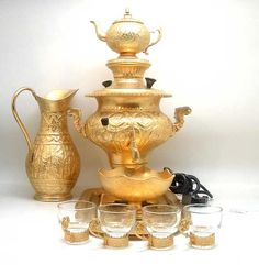 Persian samovar for making tea. We have this one in our house for decoration and have another modern one to make delicious tea.