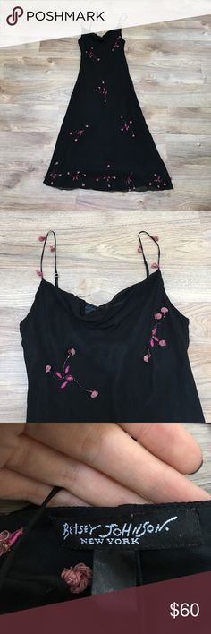 Betsey Johnson, Black Silk Slip, Pink Roses, Sz 8 Stunning and delicate Betsey Johnson black silk chiffon overlay overlay dress with a pink beaded floral rosette design. In great condition. One small rose missing from the front of dress at the bottom (pictured) and on the back a small hole (pictured) and two small roses missing (pictured). Price reflects those minor flaws because this dress is still simply beautiful. Size 8. Betsey Johnson Dresses Midi