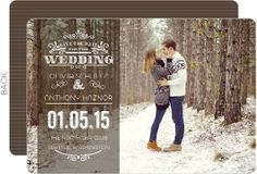 Whimsical Winter Single Picture Save The Date Card