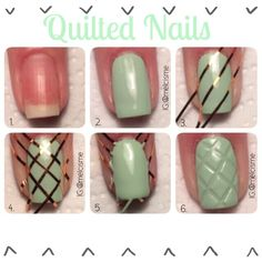 "Nail tutorial - quilted nail art using Sally Hansen ""Mint Sorbet""  by instagram.com/melcisme"