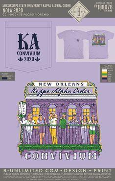 Kappa Alpha Order Convivium Shirt | Fraternity Event | Greek Event #kappaalphaorder #kappaalpha #theorder #ka Kappa Alpha Order, Bid Day Themes, Social Events, Fraternity, State University, Mardi Gras, Custom Clothes, Order Prints, New Orleans