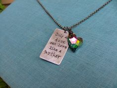 www.MyBellaMarketplace.com  #MyBellaMarketplace  Only An Aunt Can Love Like A Mother Custom Hand Stamped Necklace With Peacock Swarovski Crystal by MyBella