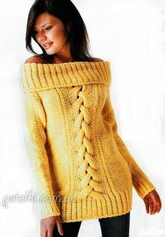 Вязание джемпер с открытыми плечами спицами