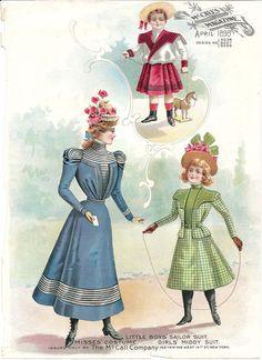 1898 McCall Magazine Color Children Fashion Clothing Costume Plate