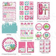 Custom Owl Baby Shower Printable Kit
