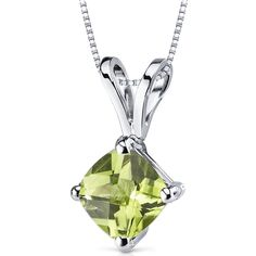 14k White Gold Cushion Cut Genuine Peridot Solitaire Pendant Necklace