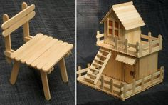 Cute little house and chair with popsicle sticks