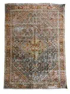 This lovely mahal scatter vintage rug features a central shah abassi medallion surrounded by a blue-grey herati water field design. Its size makes its a perfect addition to any entryway, bathroom, or other home nook. Pattern, color variation, and signs of wear and repair with vintage items is normal. Vintage Rugs, Vintage Shops, Vintage Items, Scatter Rugs, Or Antique, Persian Rug, Colorful Rugs, Blue Grey, Bohemian Rug