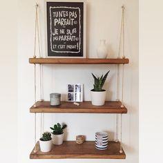 Most popular ways to elegant diy home decor projects Diy Hanging Shelves, Room Shelves, Suspended Shelves, Diy Home Decor Projects, Home Crafts, Retro Furniture, Diy Furniture, Furniture Cleaning, Furniture Stores