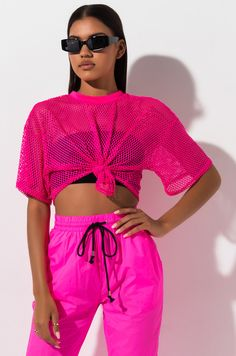 Mesh net, tie hem, crop top by AKIRA. Neon Outfits, Sporty Outfits, Girl Outfits, Cute Outfits, Fashion Outfits, Dope Fashion, Pink Fashion, Teen Fashion, Crop Top Sweater