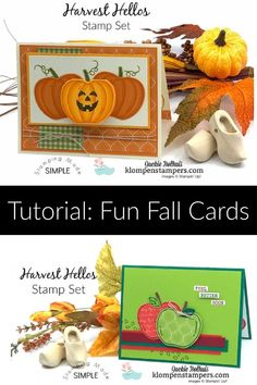 I'm excited to share with you how to make 4 card designs with one paper punch! This stamp set is super fun - make both apples and pumpkins with this punch! www.klompenstampers.com #carddesigns #cardmaking #handmadecardideas #greetingcardshandmade #jackiebolhuis #klompenstampers #stampinup #stampinupcards