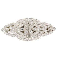 1930s Art Deco Diamond Platinum Clips Brooch