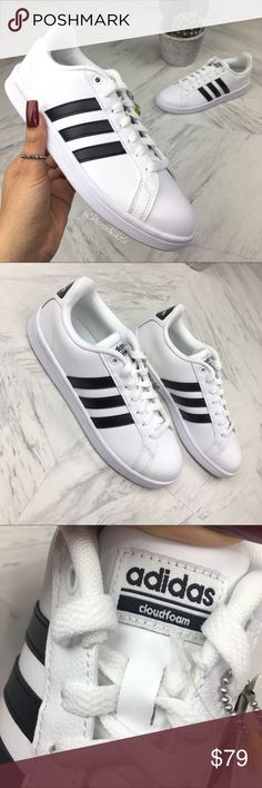 ADIDAS Shoes CF Advantage ☺️ BRAND NEW without box I ❤️ OFFERS!  📦💕 READY TO SHIP  ADIDAS Shoes CF Advantage  100% Authentic  Women's Sneaker  Color : White + Black Size: 8  These court-inspired sneakers are designed with a leather upper for a classic throwback style, and feature a 3 Stripes® on the side for added style you can rock daily.  [also check out my other listings for more great NIKE, JORDAN and ADIDAS sneakers for women. Variety of sizes]  💕 Lots of Love adidas Shoes Sneakers