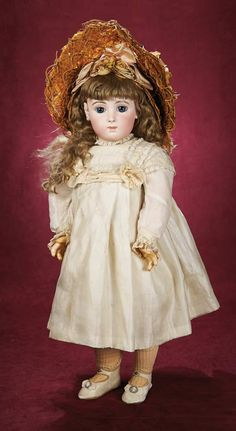 Beautiful Blue-Eyed French Bisque Bebe Triste,Size 12,by Emile Jumeau. Circa 1885. http://Theriaults.com