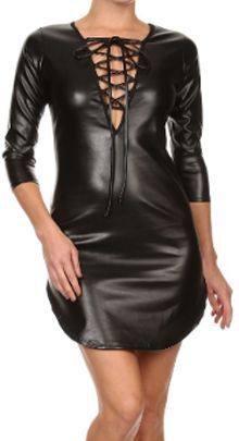 BLACK FAUX LEATHER DEEP V NECK LONG 3/4 LACE UP CLUBWEAR MINI DRESS