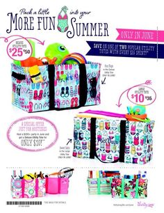 June 2014 Special! Don't forget to complete your look with a Deluxe Cinch-Top Lid (for the Deluxe Utility Tote), Pocket-A-Tote (for either tote) and/or Top-A-Tote (for the Large Utility Tote). www.mythirtyone.com/ladonnaavery