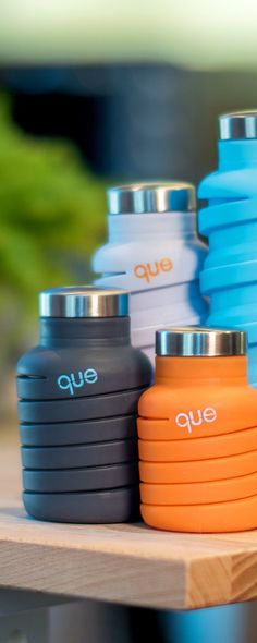 This BPA-free silicone water bottle, discovered by The Grommet, collapses into half its size. Its stainless steel cap provides a sturdy rim and prevents leaks.