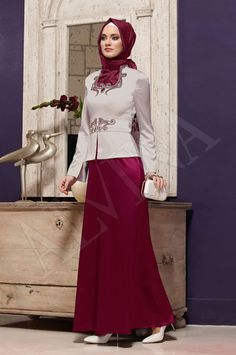 Alvina Online Shopping - Hijab Clothing - Scarf, Coat, Cap, Skirts, Jackets, Tunics, Trousers, Dresses, Coats, Overcoats Hajib Fashion, Modesty Fashion, Fashion Outfits, Muslim Dress, Hijab Dress, Islamic Fashion, Muslim Fashion, Hijabs, Modele Hijab