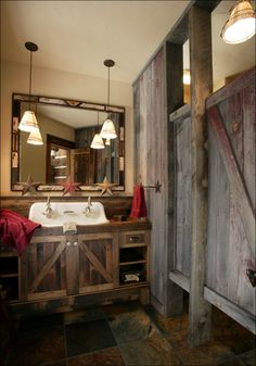 Vintage inspired bath with reclaimed wood - very cute!
