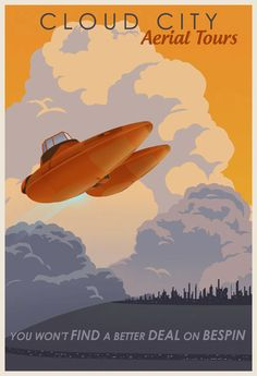 Retro Style poster travel star wars bespin - Steve Thomas has created, in an art-deco style inspired by vintage U. parks posters, series of Star Wars travel posters. Theme Star Wars, Star Wars Art, Carte Star Wars, Site Pour Film, Film Science Fiction, Steve Thomas, Poster Retro, Star Wars Planets, Pub Vintage