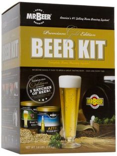 Mr. Beer Premium Gold Edition Beer Kit - This kit includes two of our most popular beer mixes and the 2-gallon fermenter is made from FDA-compliant plastic, which leaves no taste or flavor migration. Lightweight and shatter resistant, it has... - Home Brewing Starter Sets - Kitchen class=