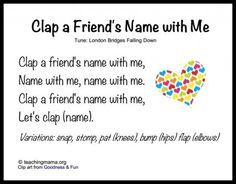 Name songs are great because they make each child feel acknowledged and unique. By clapping name songs the children are learning how many beats or syllables are in their name. I would recommend to anyone who is leading group time. Circle Time Songs, Circle Time Activities, Name Activities, Preschool Friendship Activities, Circle Time Ideas For Preschool, Preschool Music Activities, Movement Activities, Preschool Lessons, Therapy Activities
