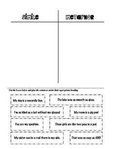 Simile and Metaphor Sort 2nd Grade Ela, 5th Grade Reading, Fourth Grade, Third Grade, Teaching Language Arts, Teaching Writing, Reading Lessons, Reading Skills, Similes And Metaphors